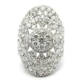 Pia Hallstrom 5.37ct Diamond Filigree 18k White Gold Cocktail Ring