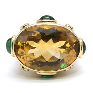 Pia Hallstrom Citrin, Emerald & Diamond 18k Yellow Gold Cocktail Ring