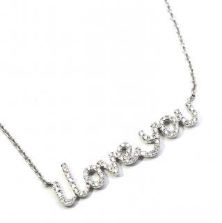 Pia Hallstrom 0.78ct Diamond 'I Love You' 18k White Gold Necklace