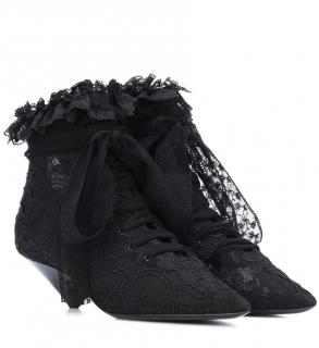 Saint Laurent suede and silk lace ruffle ankle boots