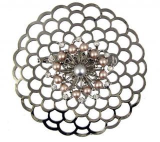 Vicki Sarge Camellia Style Crystal Brooch