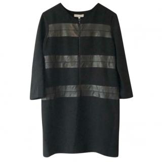 Sandro Black Leather Stripe dress