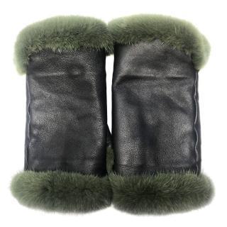 Bespoke Green mink fur mittens
