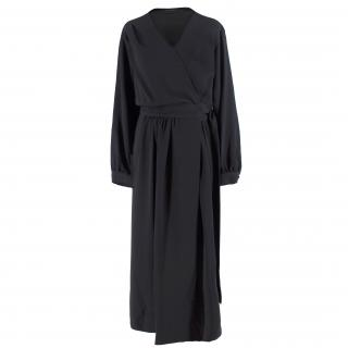 Joseph Black Belted Maxi Wrap Dress
