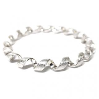 Elements Silver Scratch Finish Bangle