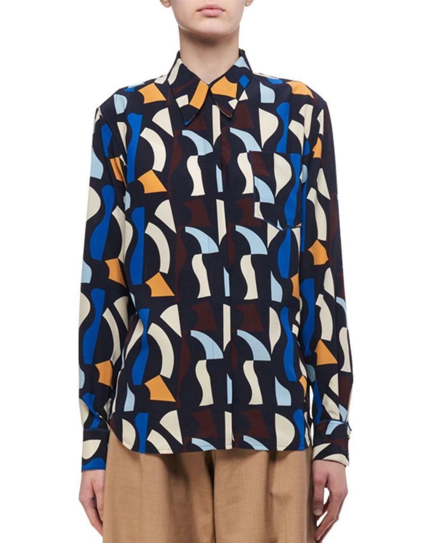 e6f5b5e3c6022 Victoria Beckham Abstract Print Silk Shirt 1