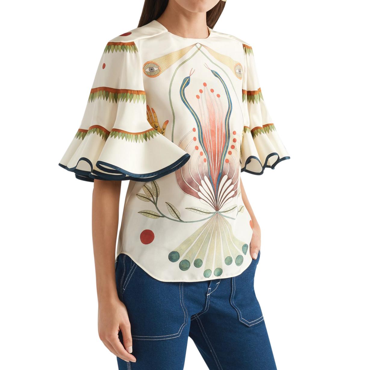 Chloe Ruffled Printed Silk Blouse - Spring '18 Runway Collection