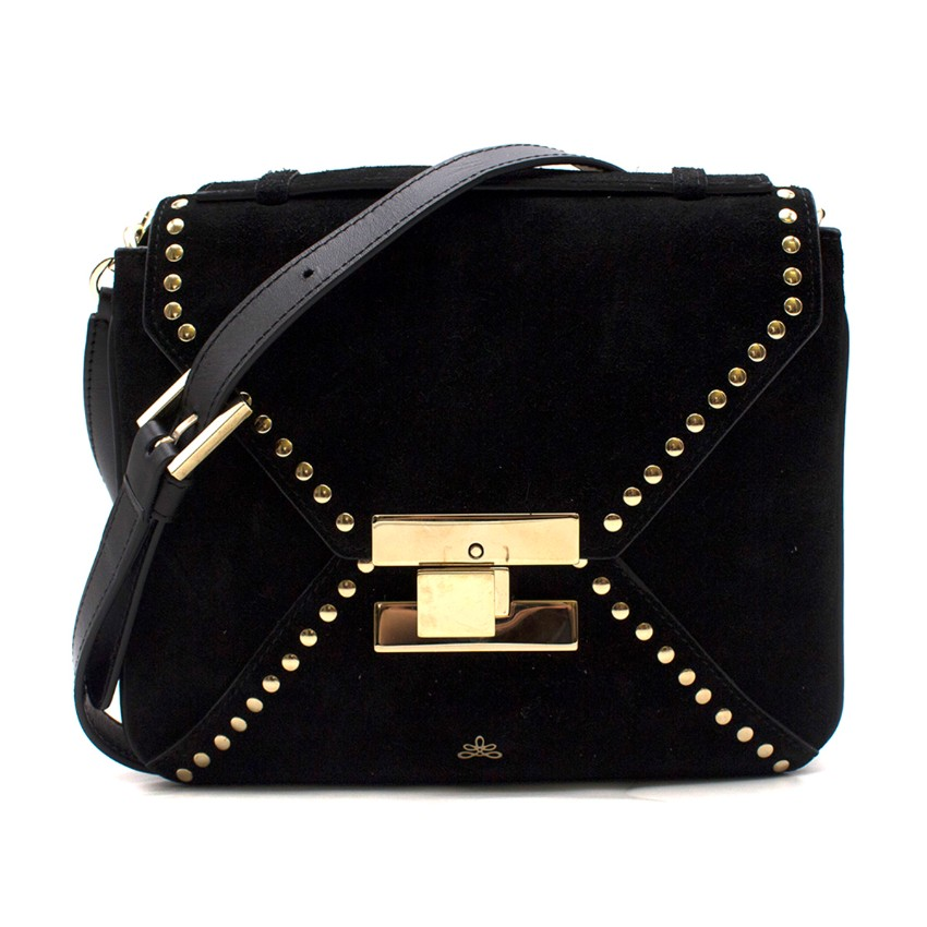 Bespoke black studded suede cross-body bag