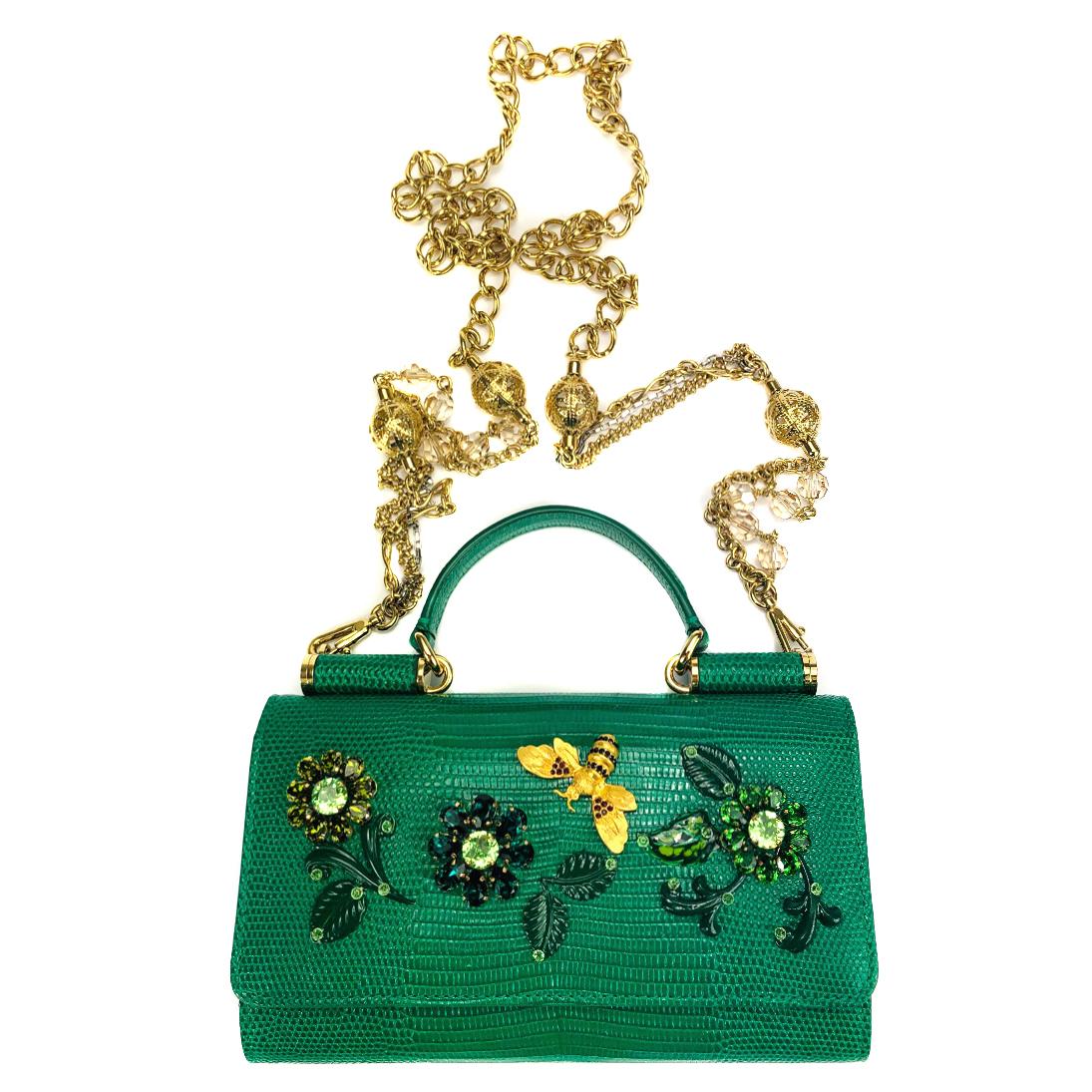 dd92b1a95e7f Dolce Gabbana Green Crystals Sicily Von Bag168159