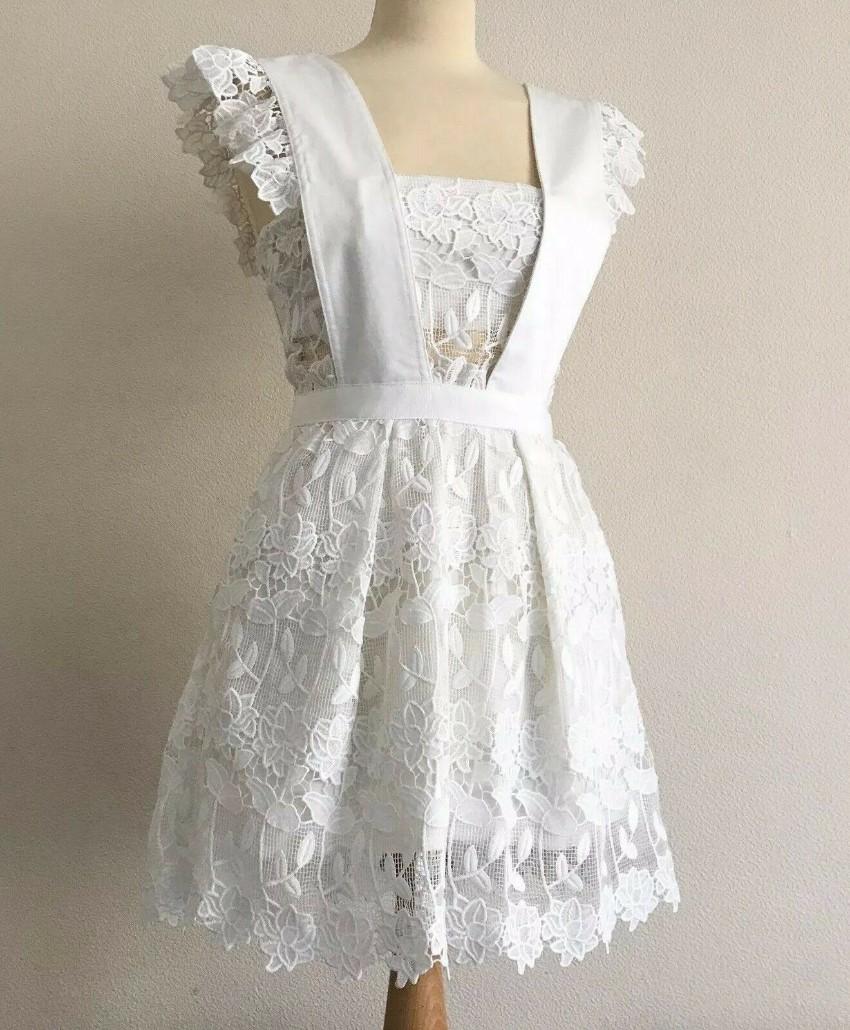 e389f4c15e20 Self Portrait White Lace A-Line Frilled Short Dress with Pockets. 42.  12345678910