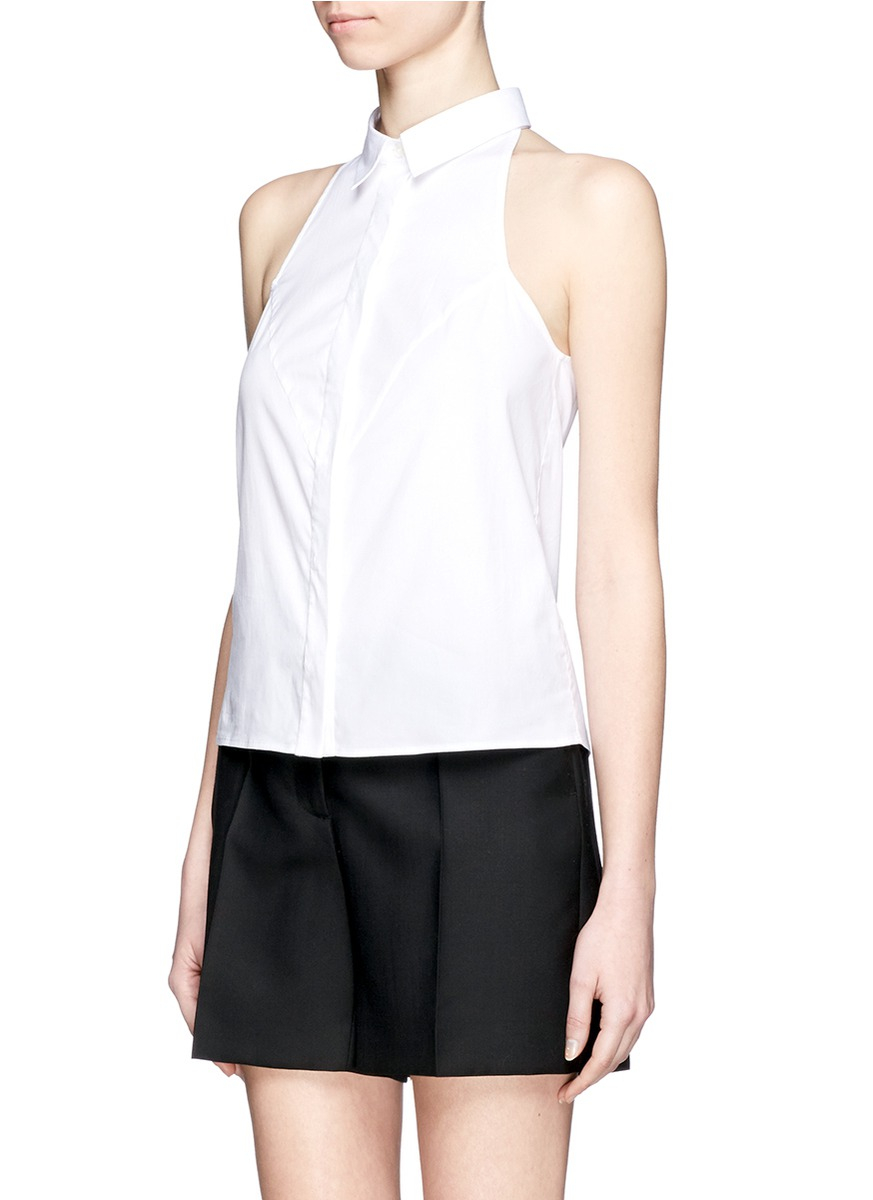 MCQ Alexander McQueen halterneck sleeveless poplin shirt