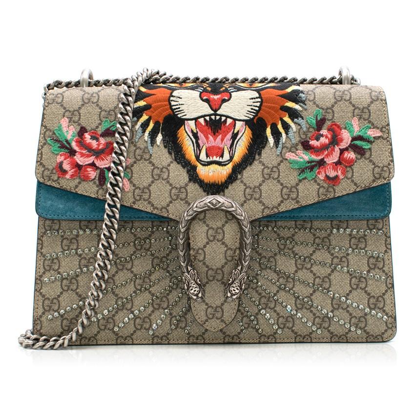 b6df9abba5a7 Gucci Dionysus Supreme Medium Tiger Head Embroidered Shoulder Bag   HEWI  London