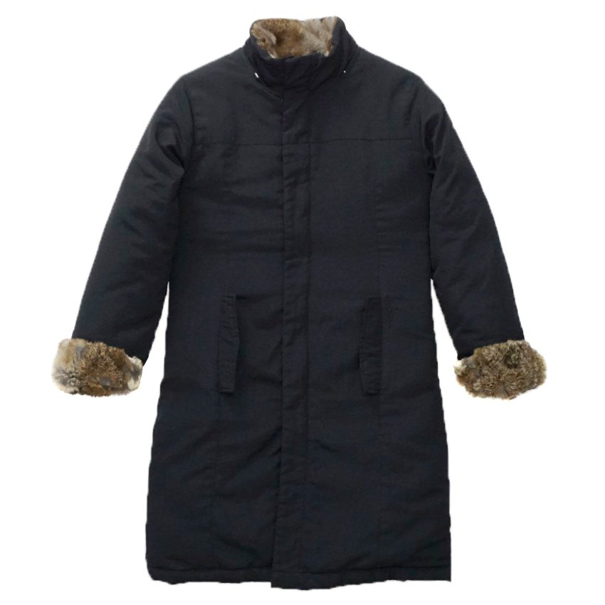 Woolrich Midnight Blue Down Rabbit Fur Long Parka Coat