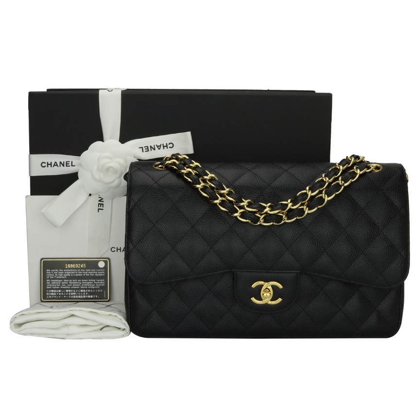 11b5b3c46e67 Chanel Jumbo Black Caviar Double Flap Bag