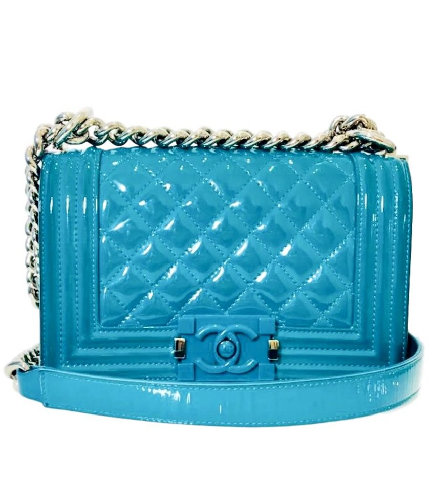 65d9c076950b5a Chanel Patent Leather Turquoise Boy Bag | HEWI London
