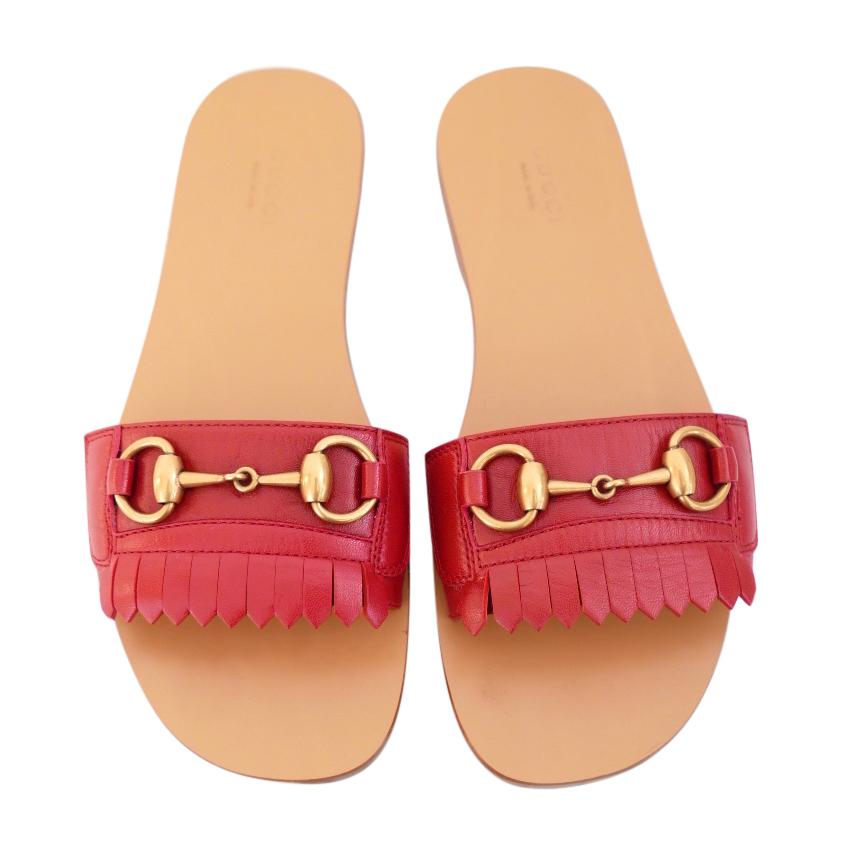 bf3303e8a00 Gucci Ss18 Malaga Kid Fringe Red Horsebit Slides Sandals