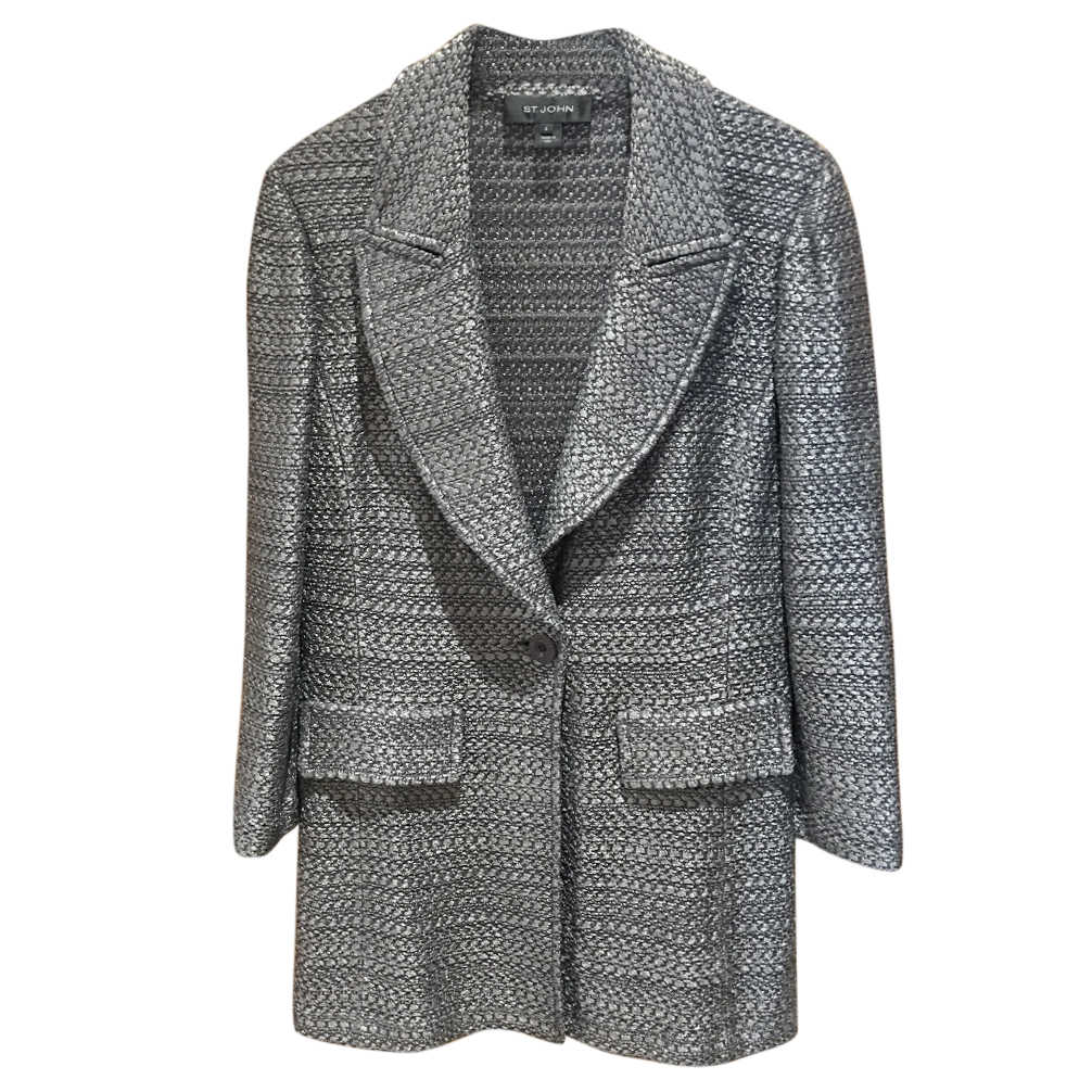 St John grey long line knit jacket