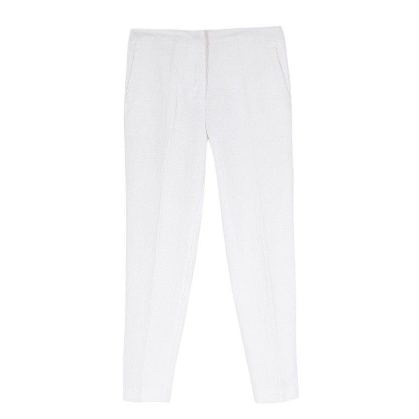 Sandro white slim-fit cropped cloque trousers