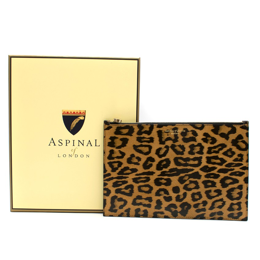 Aspinal of London Women's Essential Large Leopard Print Pouch