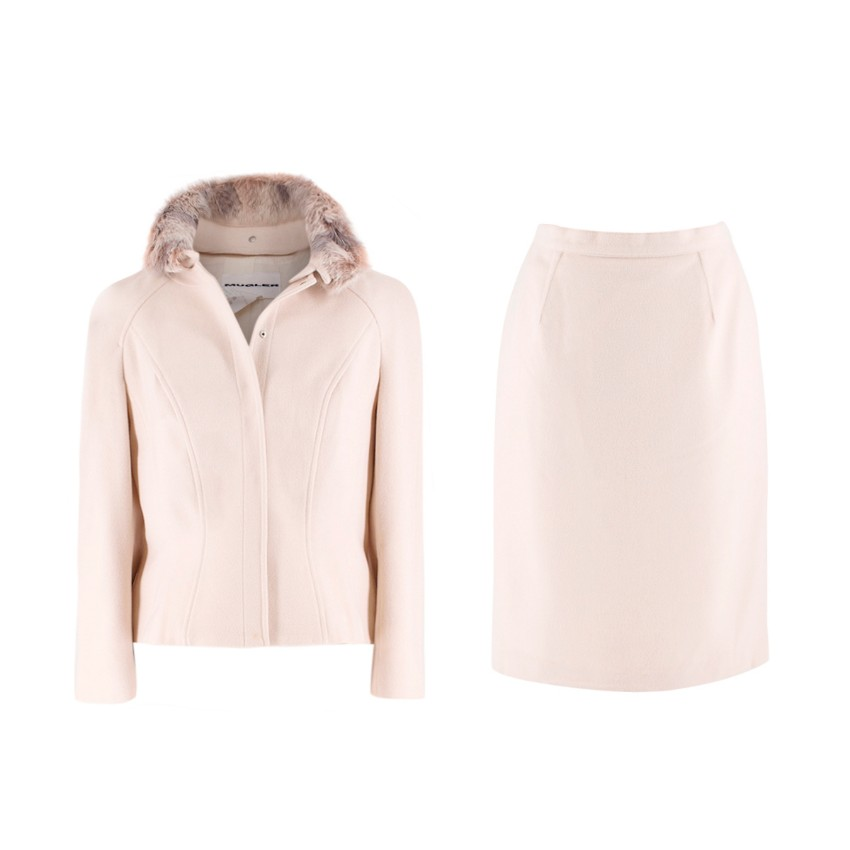 Mugler Cream Wool and Cashmere Jacket and Skirt Set