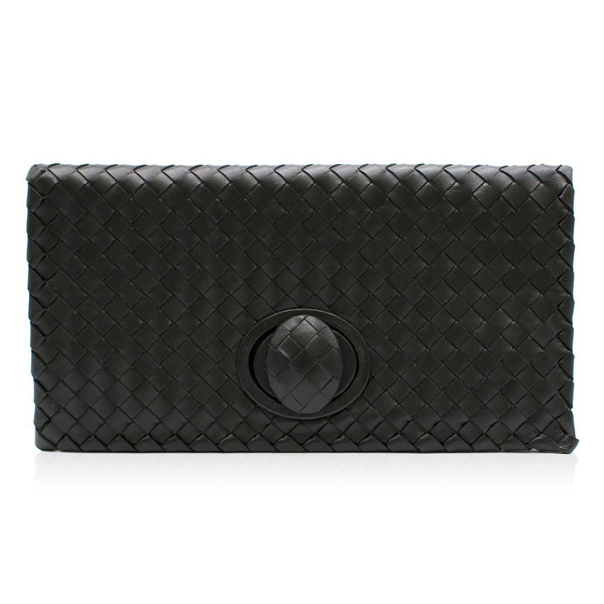 Bottega Veneta Black Intrecciato Turn Lock Clutch