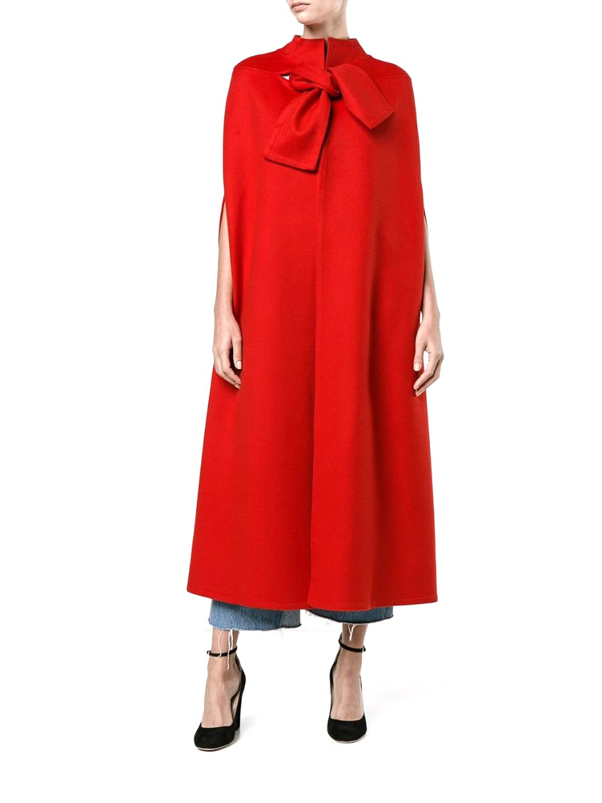 Valentino wool and cashmere-blend long red cape