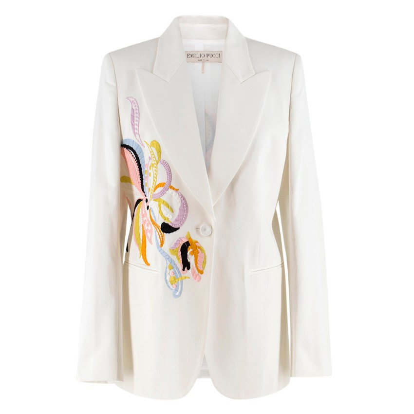 Emilio Pucci embroidered white twill blazer