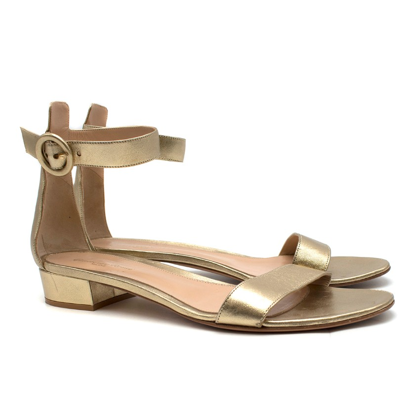 Gianvito Rossi Versilia 20mm gold leather sandals