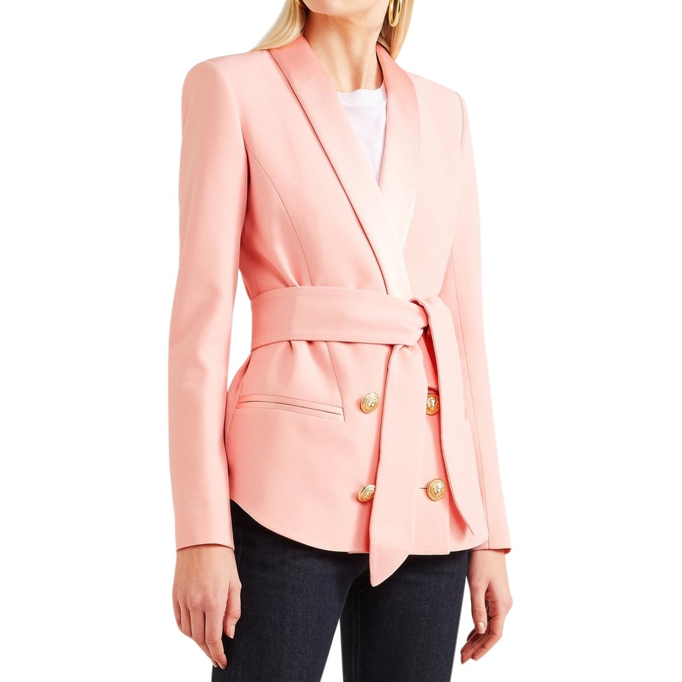 Balmain Pink Belted Double-Breasted Crepe Blazer - Current