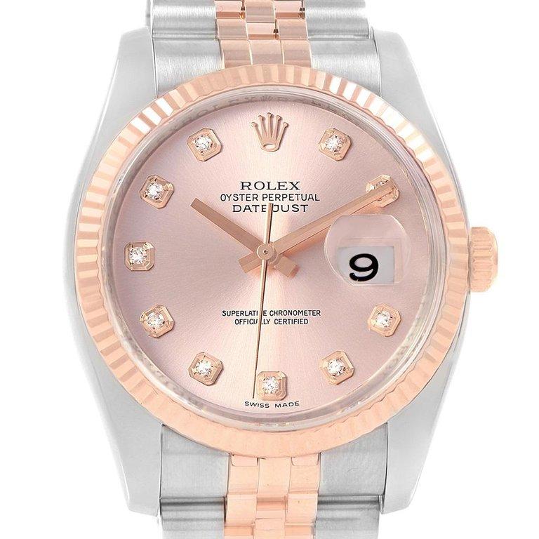 Rolex Osyter Perpetual Datejust II Rose Gold Diamond Set Watch