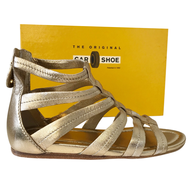 Car Shoe Leather Gold Sandals