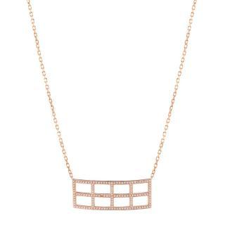 Pia Hallstrom 18k Rose Gold 0.68ct White Diamond Gridd Necklace