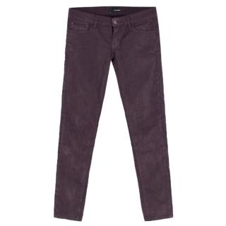 The Kooples Short-Fit purple coated-denim jeans