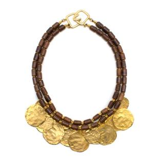 Kenneth Lane Gold Toned Hammered Necklace