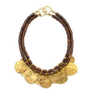 Kenneth Lane Gold Toned Hammered Necklace