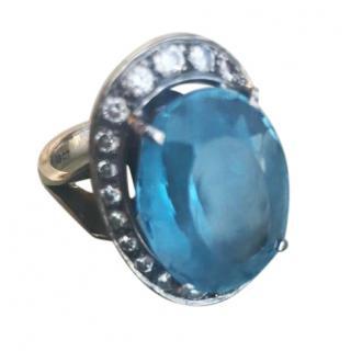 Bespoke diamond & topaz cocktail ring