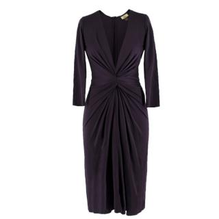 Issa London navy ruched silk-jersey dress
