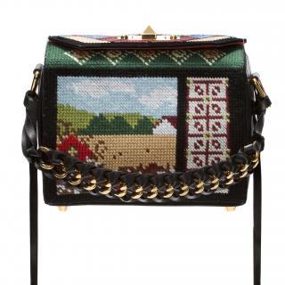 Alexander McQueen black box 19 mini embroidered-leather shoulder bag