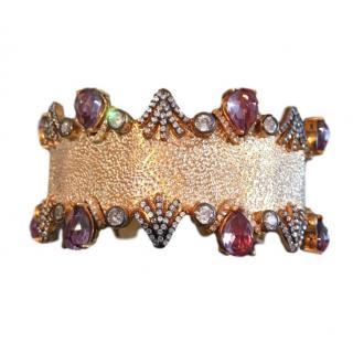 Bespoke gold plated silver crystal embellished bracelet