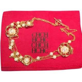 Carolina Herrera Gold Tone Pearl & Flower Mutli-Strand Necklace