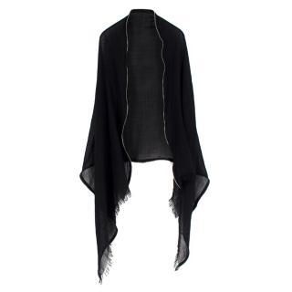 Emporio Armani zip-trimmed wool shawl