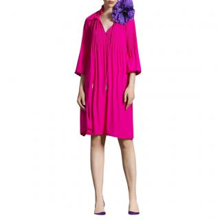 Marc Cain Hot Pink Accordion Pleat Loose Fit Dress