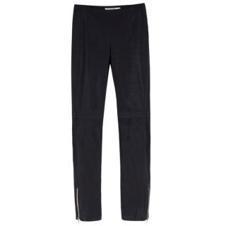 Christian Dior black leather skinny-fit trousers
