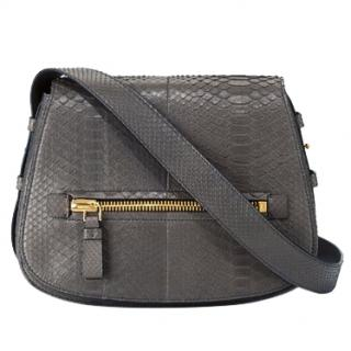 Tom Ford Medium Jennifer Dark Grey Python Satchel Bag