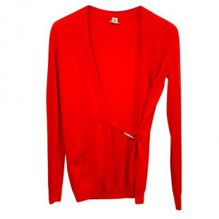 Hermes Red Cotton Open Buckled Cardigan