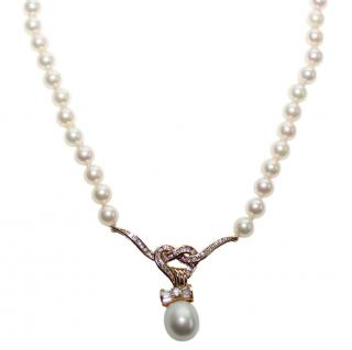Garrard Diamond Pearl 18K Gold Heart Bow Wings Lariat Necklace
