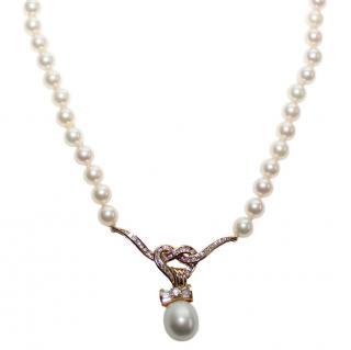 Garrard Diamond Pearl 18K Gold Heart Bow Wings Lariat Necklace
