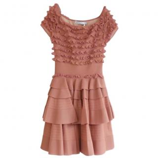 Christian Dior by Galliano Rose Knit Tiered & Ruffled Dress