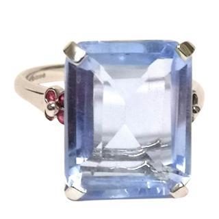 Bespoke Blue Topaz & Ruby Ring White Gold