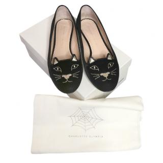 Charlotte Olympia Black Kitty Flats